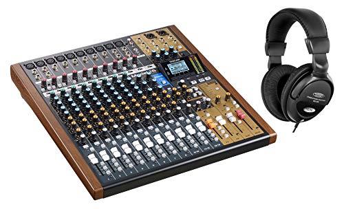 Tascam Model 16 - Set de mesa de mezclas analógicas (14 canales, con grabador de 16 pistas integrado y interfaz de audio USB, incluye auriculares)