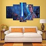 194Tdfc Star Wars Stormtrooper Jedi 5 Piezas Cuadros Lienzo Decoracion Salon Modernos De Pared Papel Murales Pintura Hogareña Salón Dormitorio De HD Póster Fotos 150 * 80Cm
