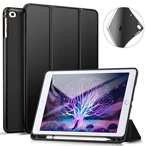 ZtotopCase Case for iPad 9.7 Inch 2018(6th Gen), Ultraslim Lightweight Soft TPU Back Cover with Pencil Holder and Trifold Stand, Auto Sleep/Wake Function, Black