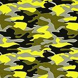 Baumwolljersey Camouflage neongelb - Preis gilt für 0,5