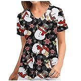 Weihnachten Kasacks Damen Pflege Günstig: Motiv Kurzarm V-Ausschnitt T-Shirt Tops mit Taschen Schlupfhemd Arbeitsuniform Pflegebekleidung Kasack Krankenpfleger Uniformen Schlupfjacke Damenkasack