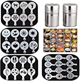 36 Coffee Decorating Stencils + 2 Stainless Steel Mesh Powder Shaker, Magnoloran Foam Latte Art Stencils Barista Templates for Decorating Oatmeal Cupcake Cake Cappuccino Mousse Hot Chocolate