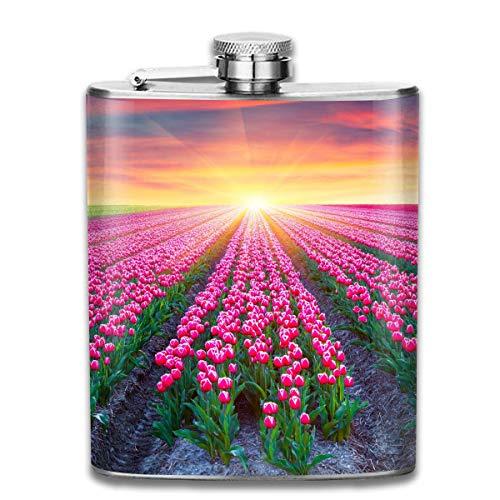 Schöne Tulpe Garten tragbare Flasche für Schnaps und Trichter 7 oz Edelstahlflasche Flasche für diskreten Schuss Trinken von Alkohol, Whisky, Rum und Wodka | Geschenk für Männer