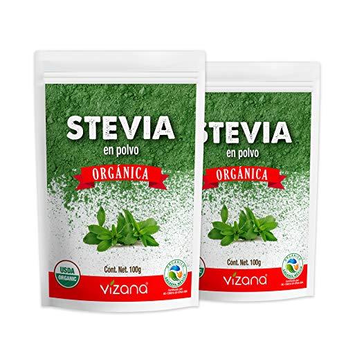 Stevia Orgánica Certificada USDA en Polvo 200g por Pack Vizana Nutrition (Pack -2 Bolsas 100g c/u)