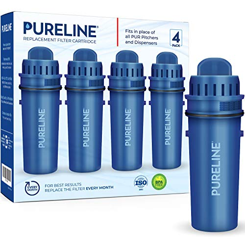 Pureline CRF-950Z Pitcher and Dispenser Replacement Filters with Advance Filtration. Compatible with PUR CRF950Z and All PUR Pitchers and Dispensers. (4 Pack)