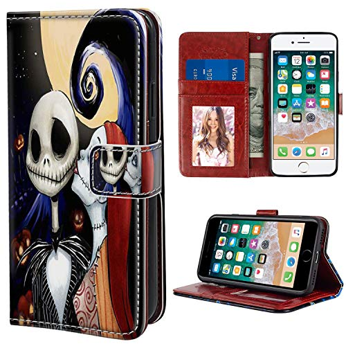 DISNEY COLLECTION Wallet Case for iPhone 7 Case iPhone 8 iPhone SE 2020 Case The Nightmare Before Christmas Halloween Lovers with Kickstand Card Holder and Wrist Strap Folio Flip Wallet Case