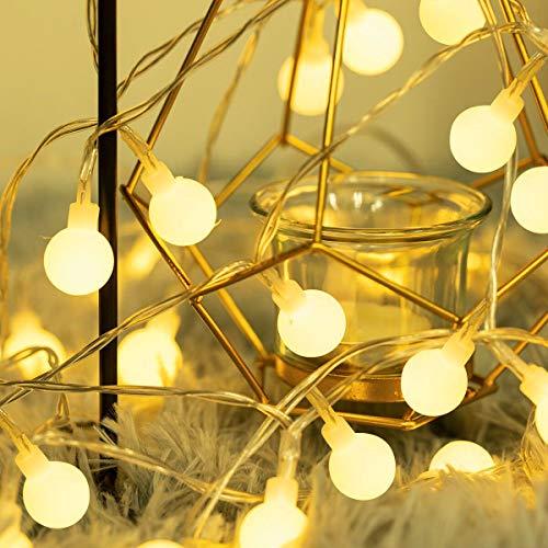 Fulighture LED Kugel Lichterkette,5M(16.41FT) 40er Globe LED, Batteriebetrieben,3300K Warmweiß,IP65 Wasserdicht, Ideal für Weihnachten, Party, Garten, Hochzeit, Balkon, Deko,