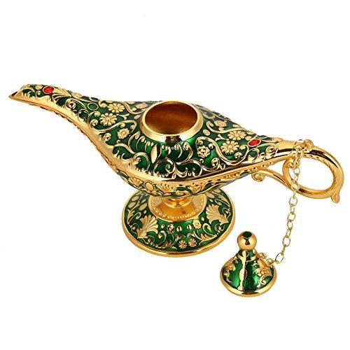 Genie Öllampe Sammelbare seltene Wishing klassische Vintage Aladdin Magic Genie Startseite Teekanne Öl Lampe Dekoration Geschenk(Grün)