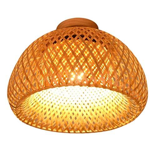 WJLL E27 Lámpara de Techo Tejido de bambú Iluminación de Techo Sala de Estar Lámpara de Porche Lámpara de ratán Redonda Luz de Techo Lámpara de Dormitorio de Color Madera de bambú,38cm
