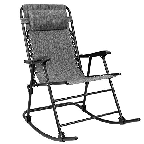 Devoko Patio Rocking Zero Gravity Chair Outdoor Wide Recliner Chair for Lawn Beach Camping Poolside with Headrest Pillow (Grey)