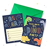 Dinosaur Birthday Invitations with Green Envelopes Pack of 20   Kids Roar Bday Party Invites for Boys 5' x 7' Card, Colorful Dino Design