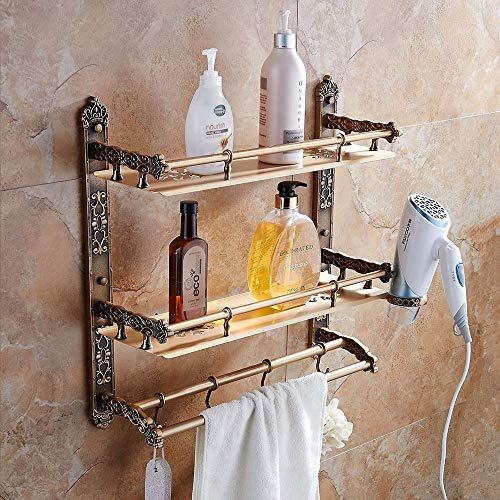 KANJJ-YU Estantes de baño de Hermosa Retro de Tres Capas + vástago Simple Negrita Esquina Redondeada de Aluminio Libre de perforación Baño Casa Hotel Bathroom Rack/Estante de múltiples Funciones