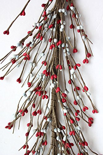 Evron International AR1956C-32 Primitive Pip Berry Garland in Gray and Red