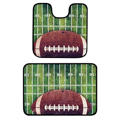 Juego de 2 alfombras de baño – Grunge American Football Field alfombrillas de baño antideslizantes lavables de felpa para bañera, ducha, cuarto de baño