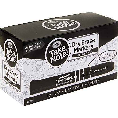 Crayola Take Note Black Dry Erase Markers, Kids At Home Activities, Chisel Tip, Office & School Supplies, 12 Count