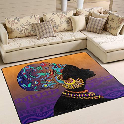 Tapijt, 80 x 58 cm, silhouet, Afrikaanse stijl, Aztec Tribal, vintage-design, voor woonkamer, slaapkamer 63x48 Inch Image 1114
