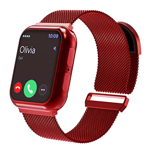 EUESAE Mesh Woven Stainless Steel Band Compatible with Apple Watch Bands 38mm 40mm 42mm 44mm, Metal Loop Magnetic Adjustable Strap Replacement Wristband Compatible for iWatch Series 6 5 4 3 2 1 SE for Women Men (Red, 38mm/40mm)
