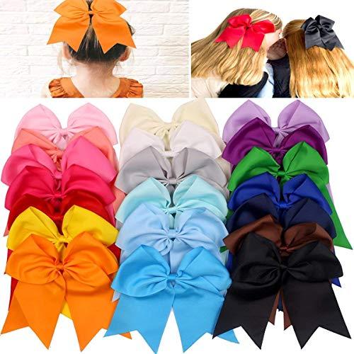 JOYOYO 20Pcs 7' Large Cheer Bows for Girls Ponytail Holder Satin Cheerleading Bows Elastic Hair Tie Bands for Baby Girls School Colleage Teens Senior Cheerleader