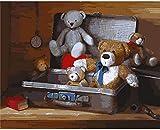 QIAOYUE Pintura por número (con Marco) Pintura DIY para Adultos y niños, Lienzo preimpreso 40 * 50cm - Maleta Teddy...