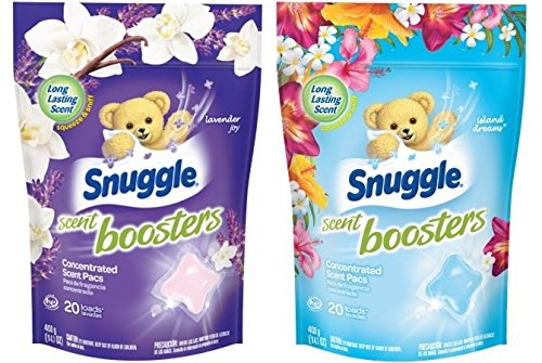 Snuggle Laundry Scent Boosters Concentrated Scent Pacs, Lavender Joy and Island Dreams Variety Pack, Pouch, 20 Count (Bundle: 2 Items)
