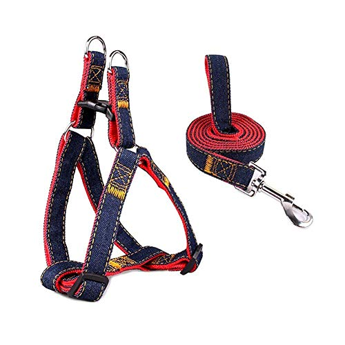 JKRTR Outdoor-Aktivitäten Anzug Hundeleine Pull verstellbares Geschirr - doppelt gepolstert(Rot,Länge 120CM, Breite 2.5CM, Kasten 45-70CM.)