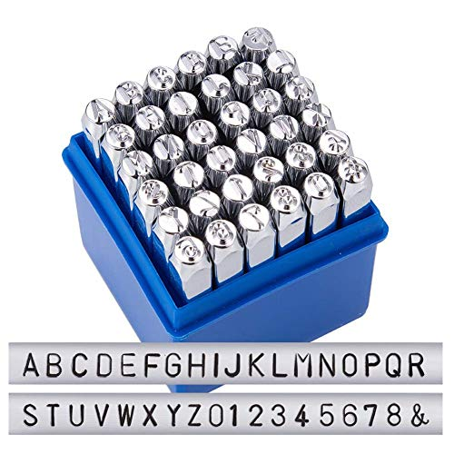 BENECREAT 36 Pack (5mm 3/16') Letter and Number Metal Punch Stamp Set, Electroplated Hard Carbon Steel Tools to Stamp/Punch Metal, Jewelry, Leather, Wood
