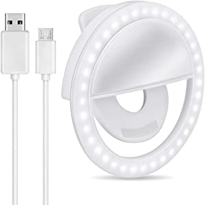 Selfie Ring Rechargeable Ring Light 3 brightness levels Adjustment Cli...