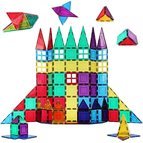 Shapemags 100 Piece Set 100 Pcs Magnet Building Tiles Magnetic Blocks - 5 Shapes Basic Starter Set...