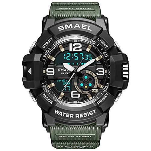 QZPM Relojes Deportivos Digital para Hombre, con Retroiluminación Alarma 50M Resistente Al Agua Multifuncional Grande De La Cara Militar Relojes Electrónicos,Army Green