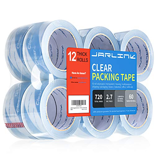 JARLINK Clear Packing Tape (12 Rolls), Heavy Duty Packaging Tape for Shipping Packaging Moving Sealing, 2.7mil Thick, 1.88 inches Wide, 60 Yards Per Roll, 720 Total Yards, Clearer