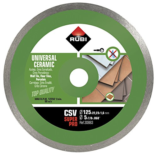 RUBI 30883 Disco Diamante general cerámica contínuo (CSV) 125mm SUPERPRO, Gris, 125 mm