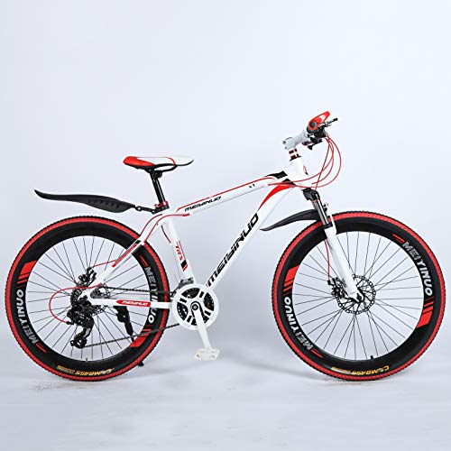 KUKU Mountain Bike 26 Inch, 21-Speed High Carbon Steel Mountain Bike, Full Suspension Mountain Bike, Outdoor Bike, Suitable for Sports And Cycling Enthusiasts,white red