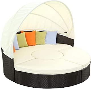 LONGren Patio Furniture Outdoor Lawn Backyard Poolside Garden Round with Retractable Canopy Wicker Rattan Round Daybed, Se...
