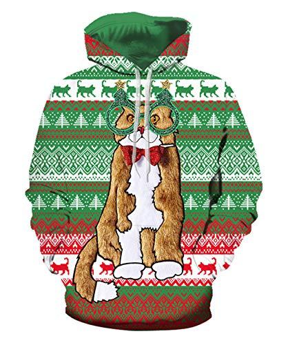 JIER Weihnachten Kapuzenpullover Unisex Christmas Sweatshirt Hoodie Weihnachtspulli Langarmshirts Kapuzenpulli Weihnachtspullover Pulli Streetwear (Grün 2,XX-Large)