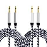 Nihlsen Paquete de 2 Cables de Audio para automóvil de 1 m, Cable de Audio AUX para automóvil de 3,5 mm, Cable de Audio de Nailon para línea de grabación Macho a Macho de 1 Metro