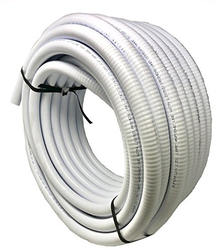 Sealproof 1.5 Dia Flexible PVC Pipe, Swimming Pool and Spa Hose Tubing, Schedule 40, Pump Filtration, Made in USA, 1-1/2-Inch, 25 FT, White