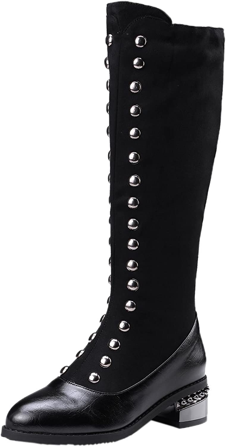 BIGTREE Women Long Boots Comfortable Vintga Studded Zipper Black Fall Winter Faux Suede Mid-Calf Boots