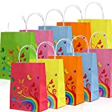 NIMU 24 Pieces Rainbow Butterfly Design Paper Bags With Handles All In One Pack Assorted Colorful 6 Colors Ideal For Gift Treat Favors Tea Party, Gift, Wedding Celebration, Multi-Use Boys Girls Kids
