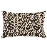 Shanzhi Animal Print Spotted Leopard Brown Terciopelo Oblongo Lumbar Plush Throw Funda de almohada/funda de cojín decorativo invisible diseño de cremallera 50 cm x 30 cm
