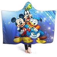 ミッキーマウス 着る毛布 フランネル フード付きの暖かい冬用ブランケット ひざ掛け 毛布 ふわふわ 柔らかい 部屋着 メンズ レディース 防寒 保温 冬服 室内服