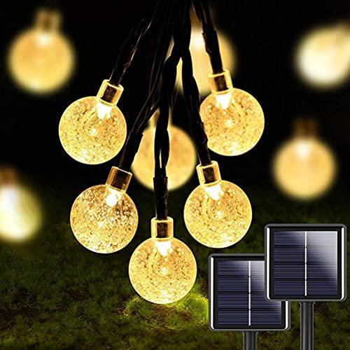 2 Piezas De 50 Led 32 Pies Crystal Globe Cadena De Luz Solar, Luz Solar Impermeable, Con 8 Modos De Iluminación, Adecuada Para Jardín, Terraza, Boda Familiar, Navidad, Festival De Fiesta En Valla