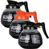 BUNN Regular and Decaf Glass Coffee Pot Decanter/Carafe, 12 Cup, 2 Black and 1 Orange, Set of 3