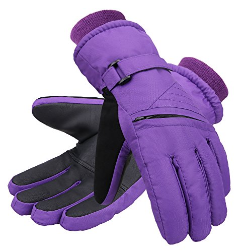 Andorra Girls' Zippered Pocket Insulation Ski Snowboarding Gloves,Purple,S(4-6 Years)