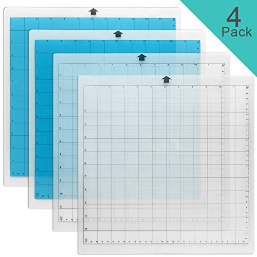 WIWAPLEX Cutting Mat for Silhouette Cameo, Standardgrip 12x12Inch, 4 Pack, Adhesive & Sticky Non-Slip Flexible Gridded Cut Mats, Replacement Vinyl Cutting Mat for Craft