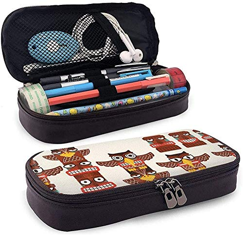 Federmäppchen Totem Pole Clip Art Leather Cute Pencil Case - Pencil Pouch Stationery Organizer Makeup Bag Perfect Holder