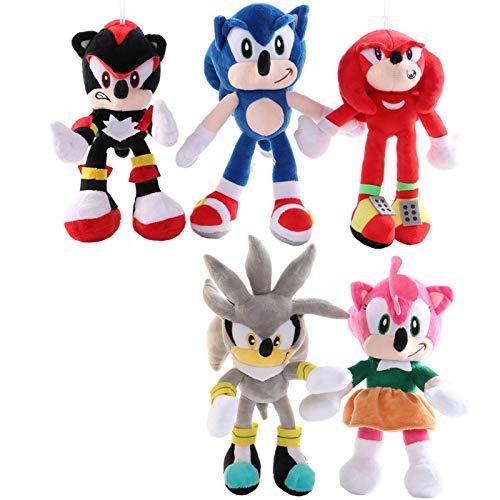 XINFA Peluche Sonic 28cm 5pcs Sonic Peluche de Juguete Amy Rose Sonic-Shadow-Silver The Hedgehog Tails Knuckles The Echidna Soft Stuffed Animals Doll Regalos para niños