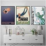 Copa del mundo 1930 Uruguay FIFA Chile 1962 ITALIA 1990 Italia 90 Argentina 1978 Póster de lienzo Fútbol Arte de la pared Impresión de pintura Decoración-50x70 cm x3 Sin marco