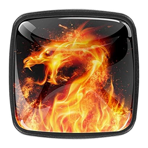 Pomos de cajón de dragón de fuego, pomos de cajón – mango de ABS I Premium elegante (4 piezas)