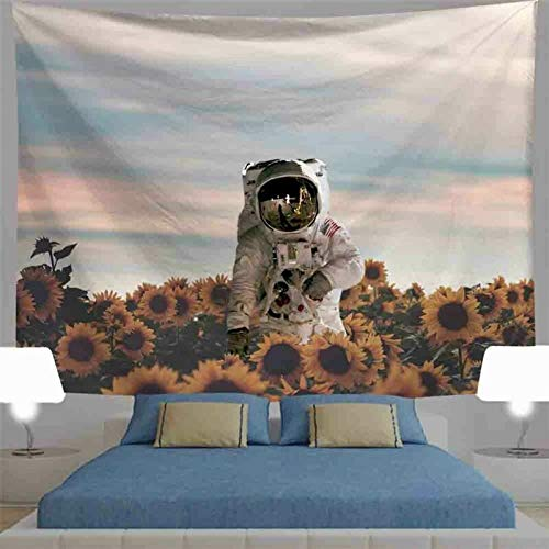 AdoDecor Tapiz de Tren cósmico Colgante de Pared Luna Girasol Astronauta Paseo Espacial Estilo Moderno Tapiz Bohemio de Playa 150x180cm