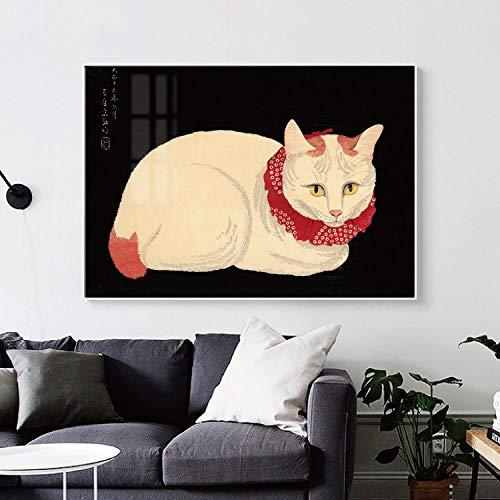 QWESFX Abstrakte gelbe Katzenmalerei Katzenmalereien auf Leinwandgemälden Set gestreckte Leinwand für Gemälde für Schlafzimmer (Druck ohne Rahmen) A3 60x90CM